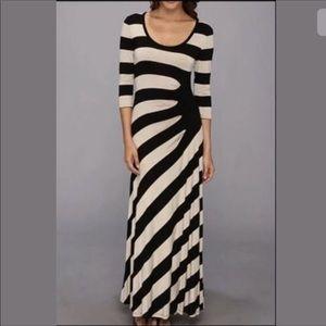 Calvin Klein 3/4 sleeve striped maxi dress